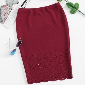 NWOT SHEIN Scalloped Laser Cut Pencil Skirt